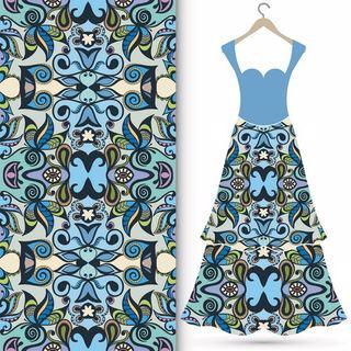 Kadın Giyim Üretimi İçin Kumaş Tasarımı - İşlemeli Asimetrik Desenler - Mavi Ton Ağırlıklı