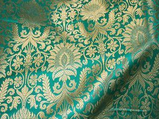 Yeşil Baskı Abiyelik ve Elbiselik Brokar Kumaş