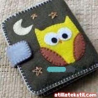 Keçe Kumaş Kitap Kapağı Kaplama - Baykuş, Hilal Ay ve Yıldız Desenli