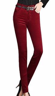 Taytlık Kadife Kumaş ile Üretilmiş Fitilli Skin Model Dar Pantolon - Kırmızı - Kahverengi Tonları
