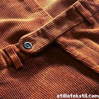 İnce Fitil Kadife Kumaş Pantolon - Önden Görünüm - Pantolon Kemeri ve Düğme Bölümü Görüntüsü