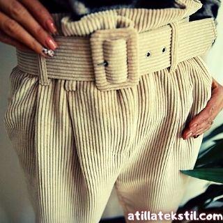 Bayan Kadın Kadife Pantolon Modelleri - Bol Paça - Gri Renk