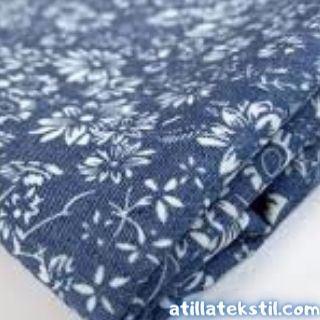 Dijital Kumaş Baskısı Şamre Dokuma Modeli Üzerine İşlenmiş, Lacivert Renk üzerine Beyaz Renkli tekstil baskısı.