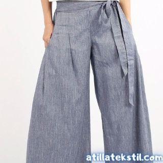 İspanyol Paça Bayan Kadın Pantolon Modelleri - Gri Renk Şamre Kumaş ile Dokuma Yapılmıştır.